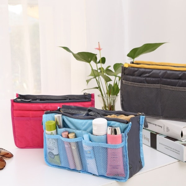 Multicolor Double Zipper Storage Cosmetic Bag. Opens flyout.