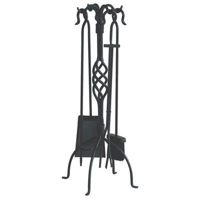 Blue Rhino F-1053 Uniflame Wrought Iron 5-Piece Fireplace Tool Set W/ Center Weave - Black