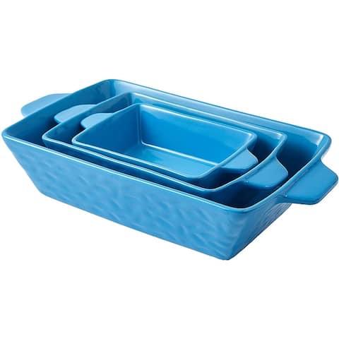 Bruntmor Rectangular Ceramic Glaze Bakeware Set, Baking Pan Hammered Dish for Cooking, Kitchen, Cake Dinner, Banquet