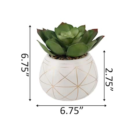 """Artificial Plant Succulent in 6.5"""" Gold Geo Hand painted Ceramic Planter - ONE-SIZE"""