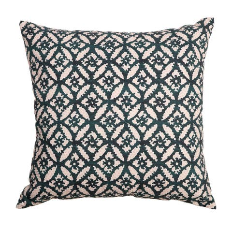 """Arden Selections Home 20"""" Throw Pillow - Green Trellis with Pink Dots"""
