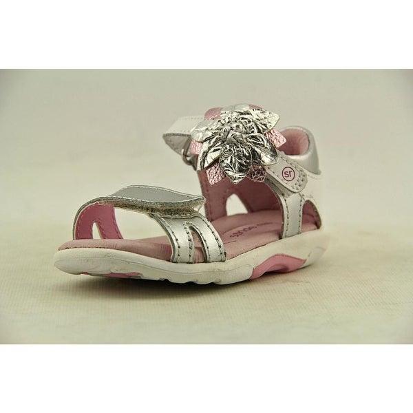Stride Rite SRT Naiya Infant Open Toe Leather Silver Sandals