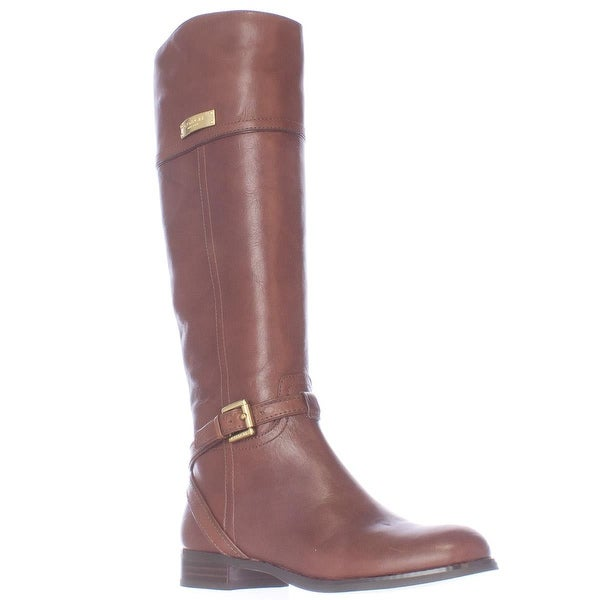 Coach Micha Buckle Strap Riding Boots, Chestnut - 5.5 us