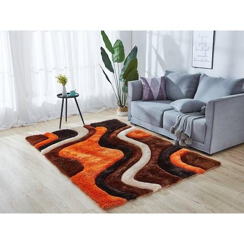 Mateos Collection Geometric Orange/Brown Area Rug