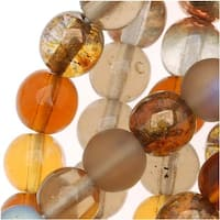 Czech Glass Druk 6mm Round 'Wheatberry Brown Mix' (50 Beads)