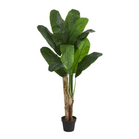 Nearly Natural Home Decorative 4' Double Stalk Banana Artificial Faux Tree - Not Available
