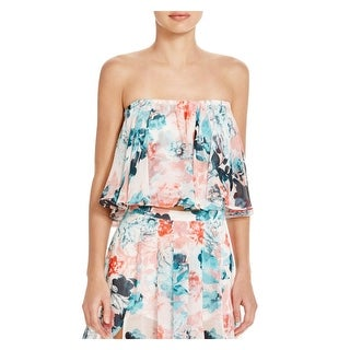 Lovers + Friends Womens Crop Top Chiffon Floral