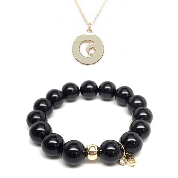 "Black Onyx 7"" Bracelet & Moon & Star Disc Gold Charm Necklace Set"