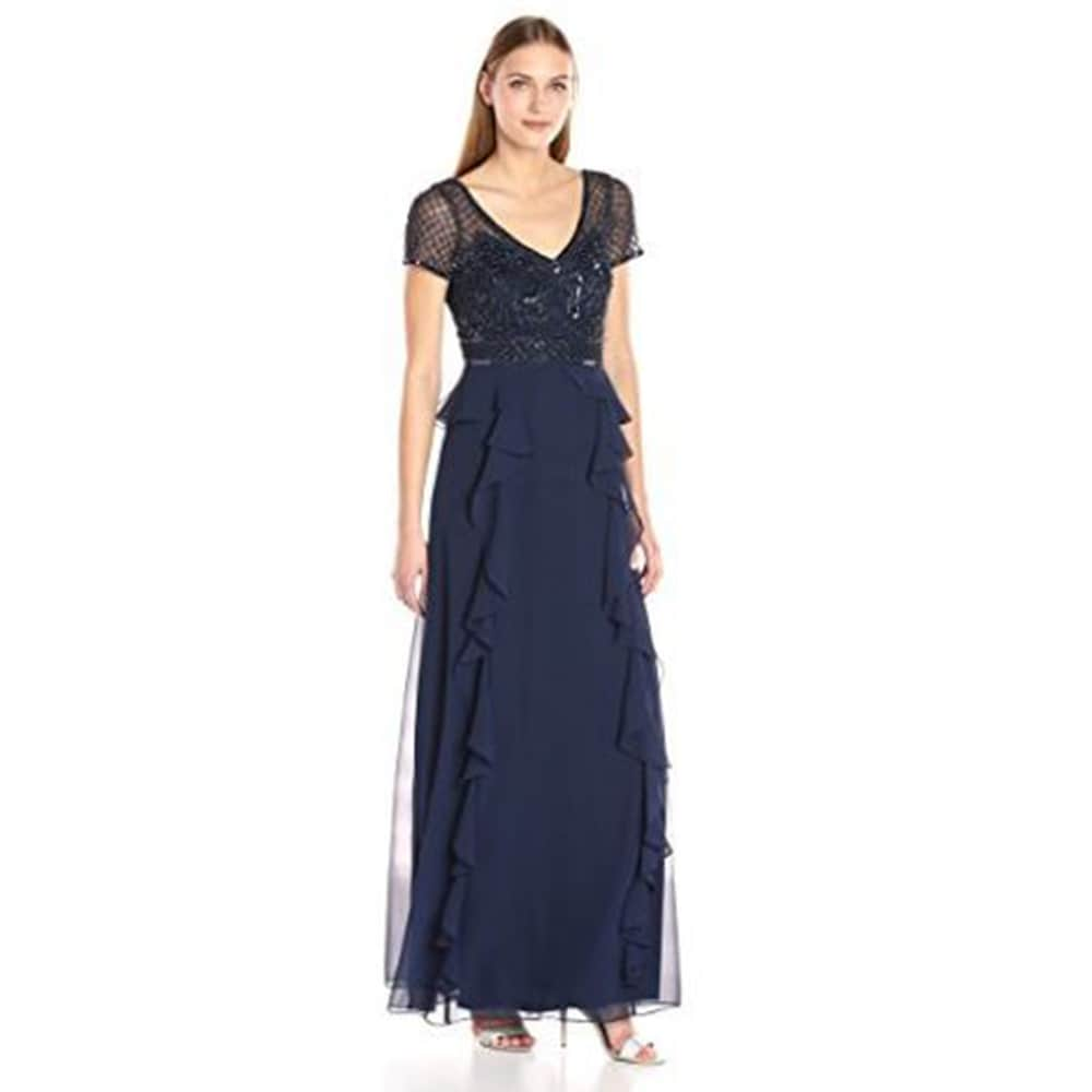 Adrianna Papell Womens Short Sleeve Gown with Beaded Bodice and Ruffle Skirt Detail