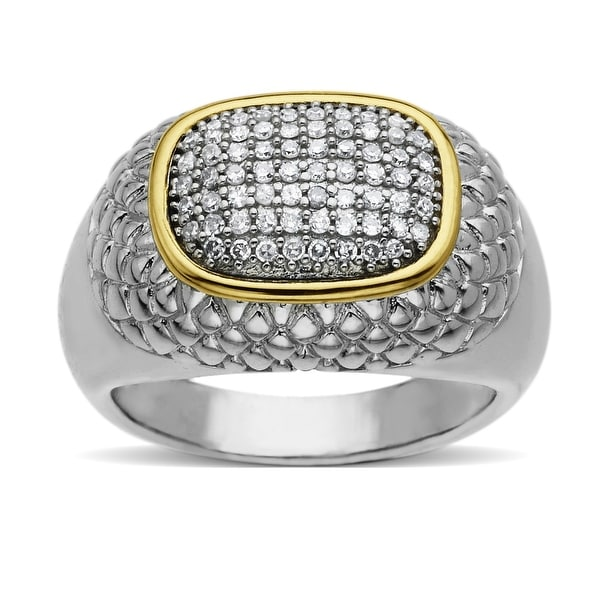 1/4 ct Diamond Ring in 14K Gold & Sterling Silver - Size 7