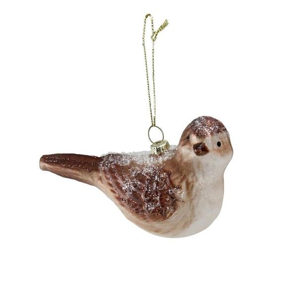 "4.5"" Snowy Glitter Sparrow Glass Bird Christmas Ornament - brown"