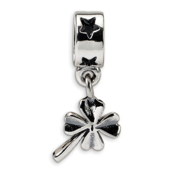 Sterling Silver Reflections 4-leaf Clover Dangle Bead (4mm Diameter Hole)
