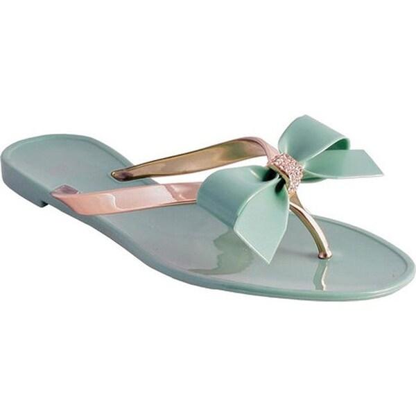 Nomad Women's Pixie Metallic Bow Thong Sandal Green/Gold