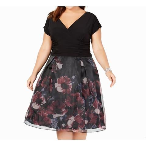 SLNY Women's Dress Black Size 20W Plus A-Line Gathered Floral Print