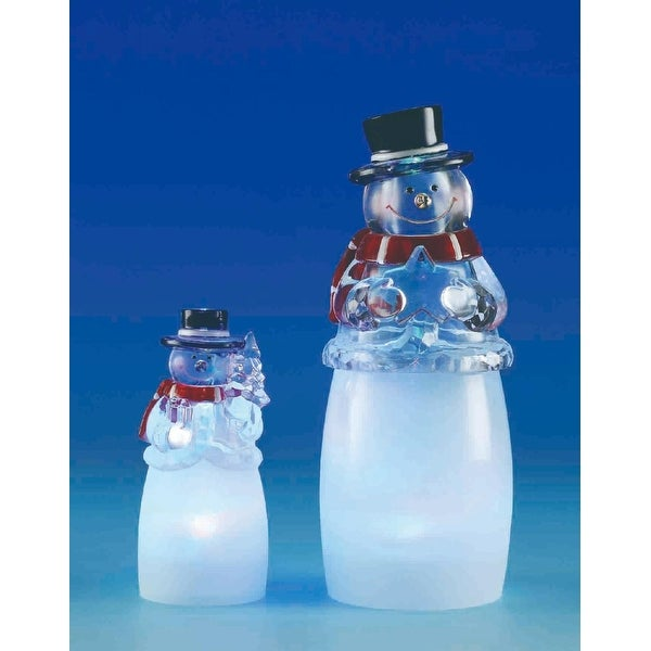 "Set of 2 LED Frosty Snowman and Son Christmas Table Top Figures 6.8"" - WHITE"