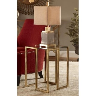 "21.25"" Antique Gold Geometrical Square Accent Table"