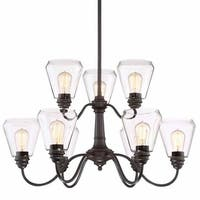 """Designers Fountain 90289 Foundry 9-Light 31"""" Wide 2 Tier Shaded Chandelier - Satin Bronze"""