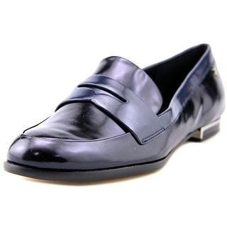 Calvin Klein Celia Women Round Toe Leather Blue Loafer
