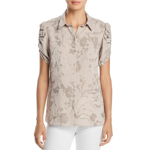 T Tahari Womens Akela Button-Down Top Metallic Floral Print