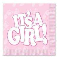 """Club Pack of 192 Pink and White """"It's A Girl"""" Disposable 2-Ply Luncheon Party Napkins"""