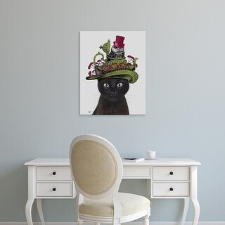 Easy Art Prints Fab Funky's 'Black Cat with Teapot and Owl' Premium Canvas Art