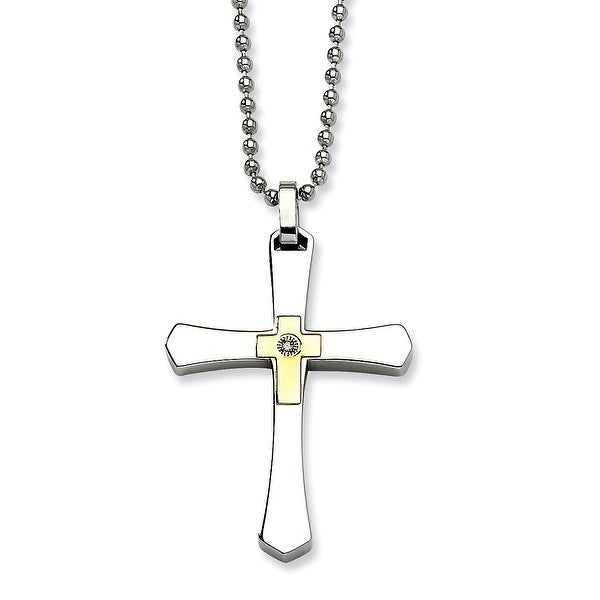 Chisel Stainless Steel 14k Gold with Diamond Cross Pendant 22 Inch Necklace (1 mm) - 22 in