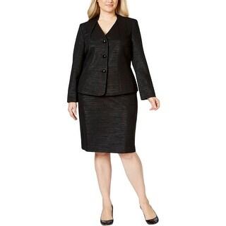 Le Suit Womens Plus Skirt Suit 2PC Metallic - 16W