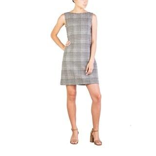 Prada Women's Virgin Wool Cashmere Blend Houndstooth Pattern Dress White - 8