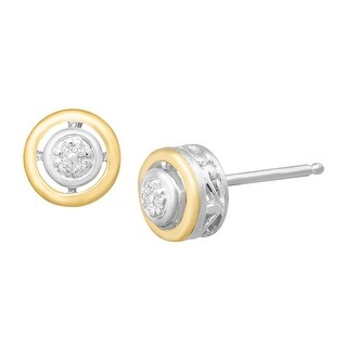 Halo Stud Earrings with Diamonds in Sterling Silver and 14K Gold
