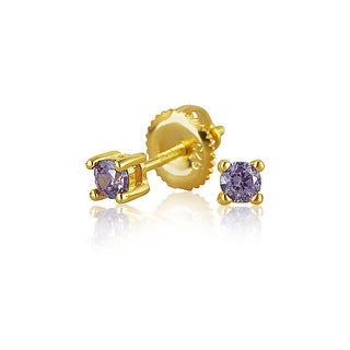 Tiny Girls Purple Cubic Zirconia Stud Earrings Imitation Amethyst CZ Safety Screwback 14K Gold Plated 925 Silver 3mm