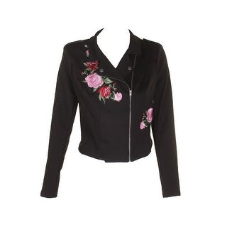 Material Girl Juniors Black Floral Embroidered Moto Jacket L