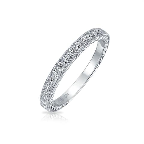 Etched Milgrain Thin Wedding Band Ring For Women Pave Cubic Zirconia 925 Sterling Silver