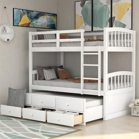 Merax Twin over Twin Bunk Bed with Trundle and 3 Drawers