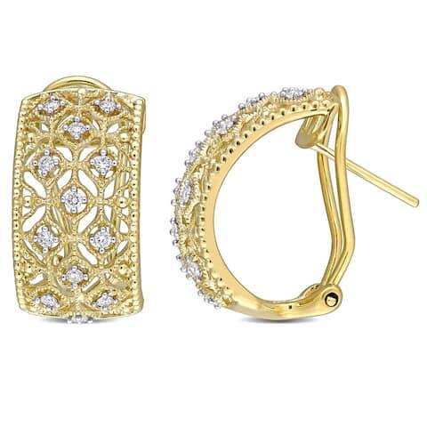 Miadora 14k Yellow Gold 1/3ct TDW Diamond Filigree Lace Hoop Earrings