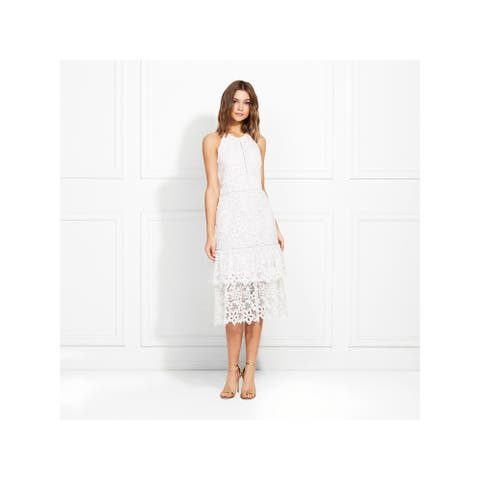 RACHEL ZOE Womens White Sleeveless Midi Sheath Formal Dress Size 8