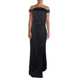 ABS Collection Womens Satin Off The Shoulder Evening Dress