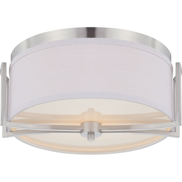 "Nuvo Lighting 60/4761 Gemini 2-Light 14-3/4"" Wide Flush Mount Drum Ceiling Fixture - Brushed nickel"