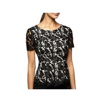 Alex Evenings Womens Blouse Lace Two-Tone