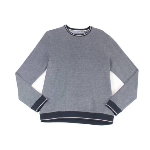 Ted Baker Mens Sweater Blue Size XL Crewneck Diagonol Stripe Pullover