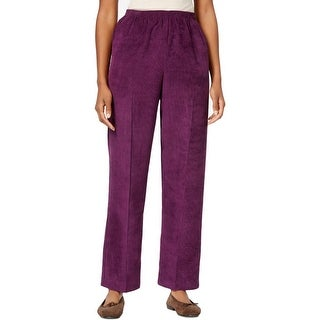 Alfred Dunner Womens Corduroy Pants Solid Flat Front