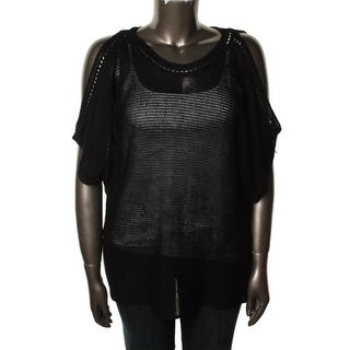 Vince Camuto Womens Linen Cold Shoulder Tunic Sweater - S