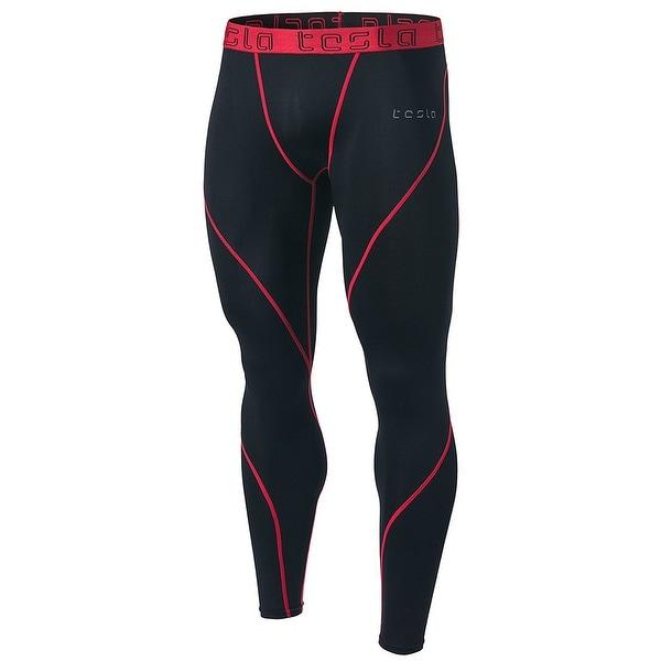 Tesla MUP19 Cool Dry Contour-Stitching Compression Pants - Black Red 6302d8d39