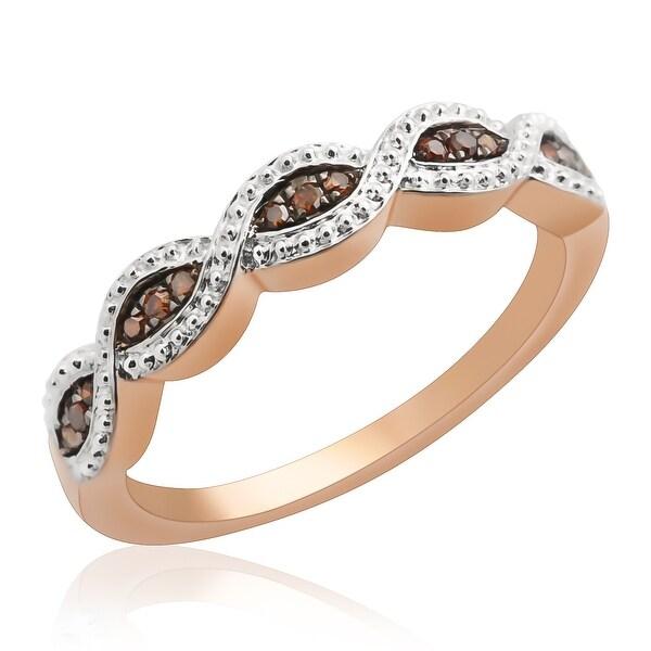 Prism Jewel 0.10Ct Round Cognac Color Diamond Wedding Band