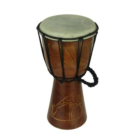 12 Inch Tall Carved Giraffe Djembe Drum 6.5 Inch Diameter - 12 X 6.5 X 6.5 inches
