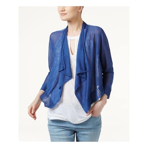 INC Womens Blue Ruffled 3/4 Sleeve Open Sweater Size XS