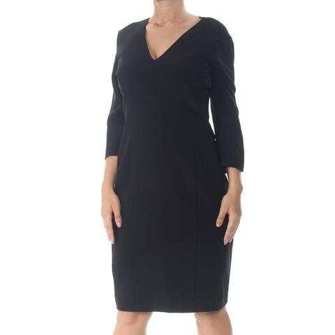 NARCISO RODRIGUEZ Womens Black 3/4 Sleeve Knee Length Dress Size 10