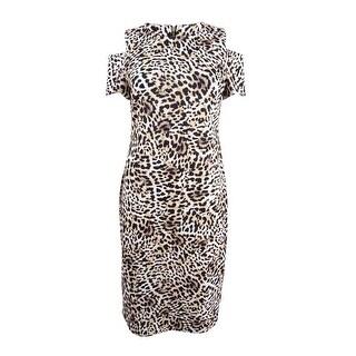 Calvin Klein Women's Animal-Print Cold-Shoulder Sheath Dress (6, Camel) - camel - 6