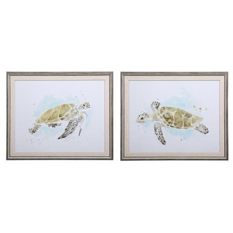 Uttermost Sea Turtle Study Watercolor Prints (Set of 2)