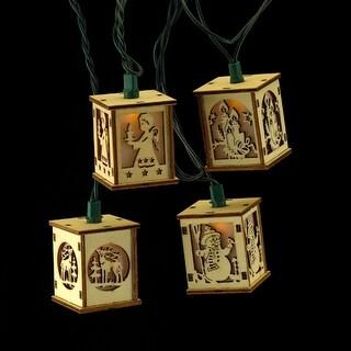 Set of 10 Holiday Wood Box Lantern Christmas Lights - Green Wire