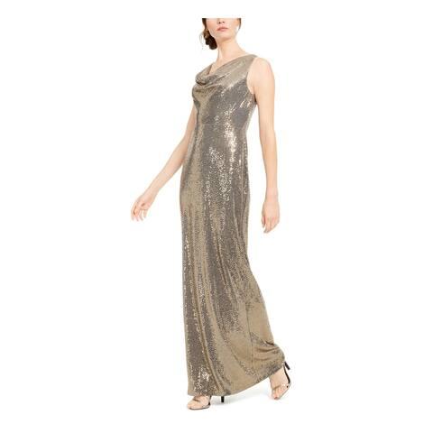 CALVIN KLEIN Gold Sleeveless Full-Length Sheath Dress Size 10